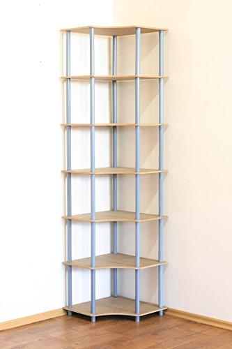 MODO24 Rohrregal 7 Böden Eckregal Breite 56cm Zimmer- Büro- Bücher- Kellerregal ... ... (Grau) DEDAL-7W