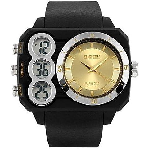 Orologio dual time sport analogico-digitale uomini rettangolo progettazione orologio da polso ( Colore : Oro , Taglia : Taglia unica )
