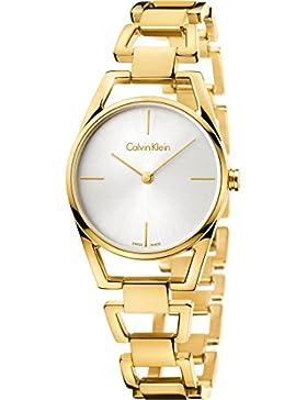 Calvin Klein Damen-Armbanduhr Analog Quarz One Size, silberfarben, gold