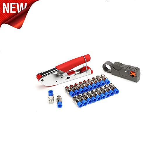 TAOtTAO Koaxialkabel Crimp-Abisolier-Set für F-Kopf Koaxialkabel Abisolierzange RG6 / RG59 Kompressions-F-Stecker Crimpzangensatz (B)
