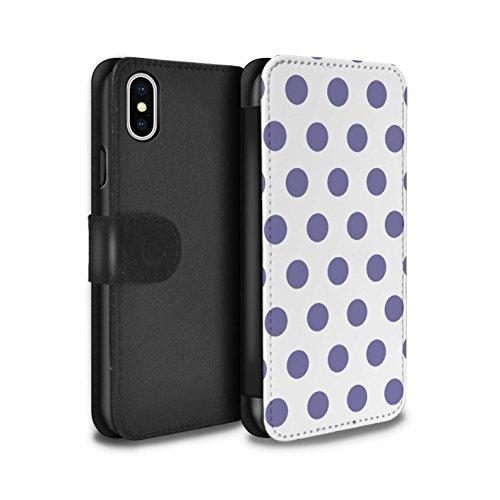 Stuff4 Coque/Etui/Housse Cuir PU Case/Cover pour Apple iPhone X/10 / Pack 10pcs Design / Toqué à Pois Collection Lavande Pourpre