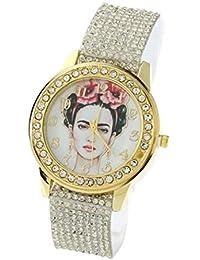 Artista Mexicano Femenino, Cabeza de Mujer con Flores, con Cristales en el Reloj y