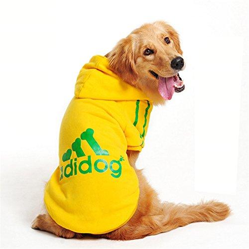 Ducomi Adidog Hunde Hoodie Kapuzenpullover aus weicher Baumwolle XS bis 8XL Versand aus DE (XL, Gelb)