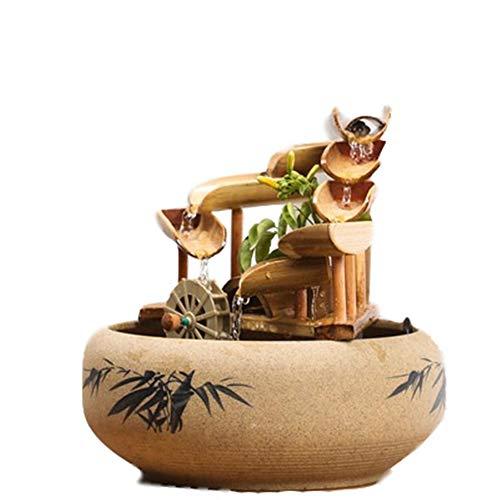 DQM Fuente de Agua Acentos de bambú para Patio, Fuente de pequeños Adornos, para Interiores, Exteriores, acuarios, hogares, oficinas, agregue pequeñas Piedras o Conchas para