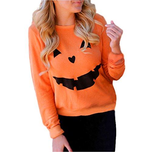 Den Halloween Kürbis Cut Out Für (WOCACHI Damen Halloween Kürbis Druck Langarm Sweatshirt Pullover Tops Bluse Shirt (S,)
