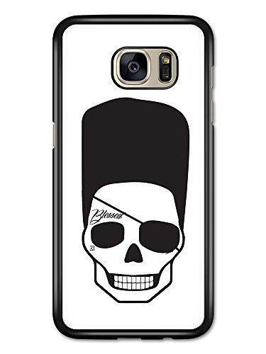 Cool Hipster Skull with Flat Top Eye Patch and Tattoo Minimalist hülle für Samsung Galaxy S7 Edge (Flat Eye Patch)