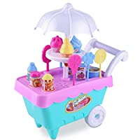 Ice Cream Cart Pretend Toys Piebo Pretend Playset with Carrying Case Play Set Pretend Play Toy Food Toys for 3 4 5 year Old Girls Boys (A)