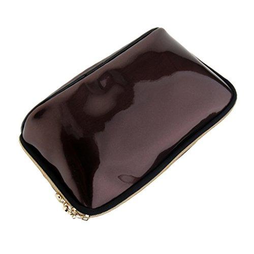 MagiDeal Sac de maquillage en PVC, clair Trousse de toilette à fermeture Éclair Sacs étanche Portable Pouch pour Voyager - Marron foncé, 23 x 7,5 x 13 cm