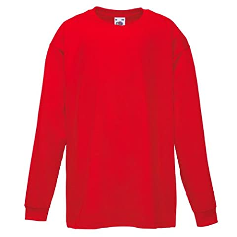 Fruit Of The Loom Kinder T-Shirt, langarm 5 Jahre,Rot - Rot