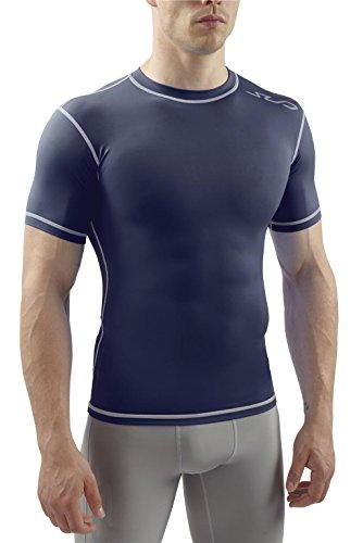 Sub Sports Herren Dual Kompressionsshirt Funktionswäsche Base Layer kurzarm Navy, L -