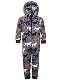 Kinder Schlafanzug-Einteiler Weiches Fleece Pferde-Design