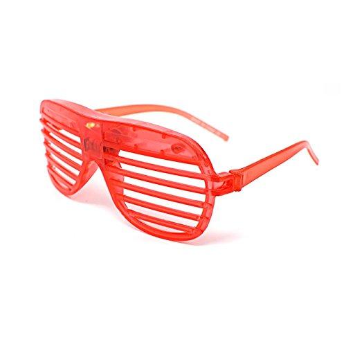 Ultra ® 1 x rot bunt blinken Retro LED-Brille für Erwachsene und Kids Parties Party Veranstaltungen Raves Dance Clubs und Kostüm Partys Rosa grün blau lila weiß gefärbt schwarz Schlitz (Aviator Kostüm Mädchen)