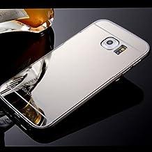 Casos hermosos, cubiertas, Nuevo espejo chapado de vuelta con la caja del teléfono estructura de metal para la galaxia S4 / S5 / S6 / S6 borde / borde s6 + (colores ( Color : Plateado , Modelos Compatibles : Galaxy S7 Edge )