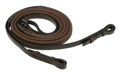 "High Quality English Leather Rubber Grip (bobble) Reins For Bridle 3/4"" Wide In Havana, Size: Extra Full (Havanna- Braun, Warmblut extralang)"