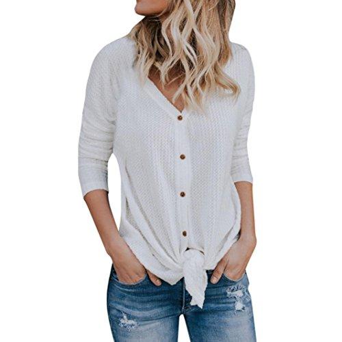 iYmitz Damen Lose Strick Tunika Bluse Krawatte Knoten Henley TopsFledermausflügel Plain Shirts(Weiß,L) (Henley Raglan Top)