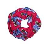 MANUMAR Loop-Schal für Damen | Hals-Tuch in lila mit Rosen Motiv als perfektes Frühling Sommer Accessoire | Schlauchschal | Damen-Schal | Rundschal | Geschenkidee für Frauen und Mädchen