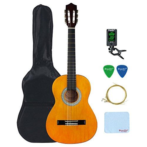4/4 Größe Klassische Akustikgitarre, Strong Wind 39 Zoll 6 Nylon Saiten Gitarre Anfänger Kit Gitarren Starter Pack mit Tuner, Plektrum, Tasche, Saiten und Putztuch für Studenten Kinder Erwachsene