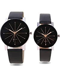Shree New Design Black Color Analog Watch For Men And Women (Couple Watch) - Pack Of 2