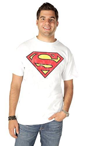 Junk Food Superman Original Logo Erwachsene weiß T-Shirt (XX-Large) (Junk Food-superman)