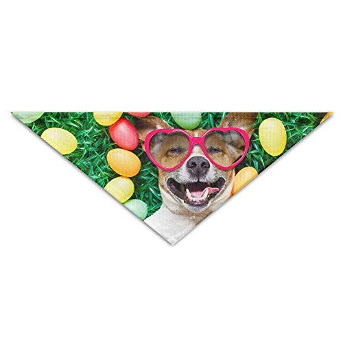 Gxdchfj Pet Scarf, Holidays Easter Dogs Eggs with Glasses Triangle Pet Scarf Dog Bandana Pet Collars for Dog Cat - Birthday -