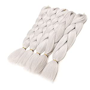 WIGENIUS 100% Japanese Fiber Pure Color Jumbo Braids Hot Water Setting 100G 24 Inches (4PCS, GRAY)