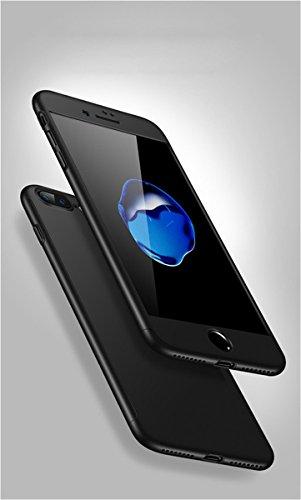 iPhone 8Plus case 360gradi copertura 3in 1Slim Adamark antiurto Shell Full Body copertura protettiva + protezione dello schermo in vetro temperato per iPhone 8Plus, Black Black