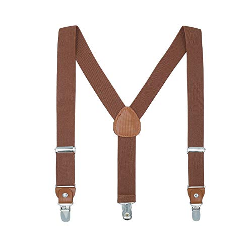 Hosentrager Gurtel fur Kinder Erwachsene - Elastisch Einstellbar Y geformt Braunes Leder 4 Clips auf dem Hosentrager£¨Braun£©