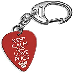 Llavero Keep Calm And Love Pugs Logo Guitarra