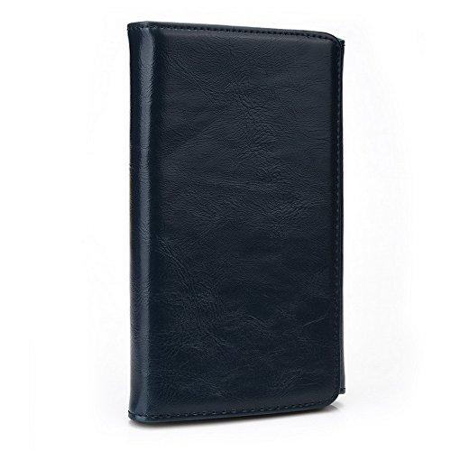 Kroo Portefeuille unisexe avec Xolo q1020/Play 8x -1200ajustement universel différentes couleurs disponibles avec affichage écran Marron - marron Bleu - bleu