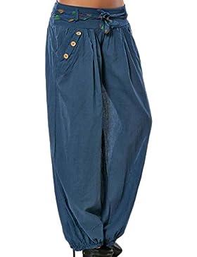 Mujer Pantalones Largos Harem Pantalón Baggy Yoga Holgados Flojos Suave Casual Pantalones Azul Marino M
