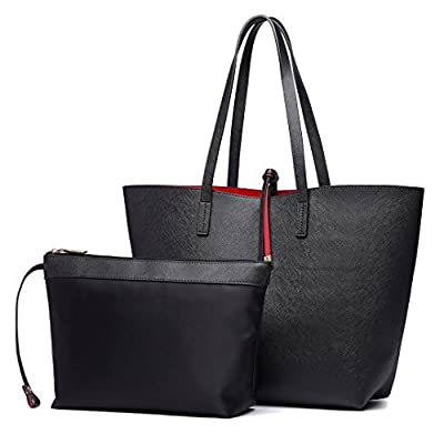 Miss Lulu Women Reversible Tote Bag Faux Leather Shoulder Handbag Large Shopper Set