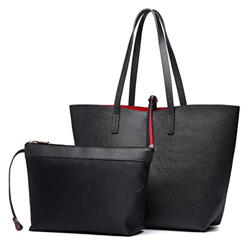 Miss Lulu Women Reversible Tote Bag Faux Leather Shoulder Handbag Large  Shopper Set (Black) 5381cc7cf9b6b