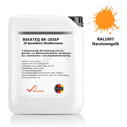 BEKATEQ BK-205EP 2K Epoxidharz Beschichtung, 5kg RAL1007 Narzissengelb, Bodenausgleich Nivelliermasse selbstverlaufend