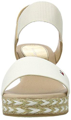 Tommy Hilfiger E1285lba 33c2, Sandales Bout Ouvert Femme Blanc (Whisper White-gold 901)