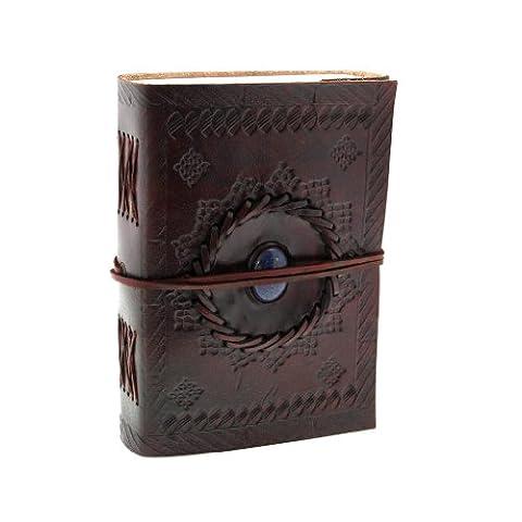 Indra Carnet de notes de luxe en cuir de et papier fait à la main avec de la pierre - 110 x 160mm