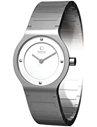 Obaku Harmony - Reloj analógico de cuarzo para mujer con correa de acero inoxidable, color plateado