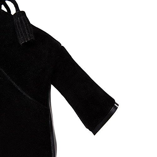 AgooLar Damen Reißverschluss Blockabsatz Mattglasbirne Rein Stiefel mit Schleife Schwarz