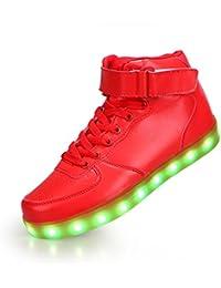 SAGUARO 7 Colores Altas Top USB Carga LED Luz Glow Luminosos Light Up Flashing Sneakers Zapatos Deportivos de la Zapatillas de Deporte Blanco