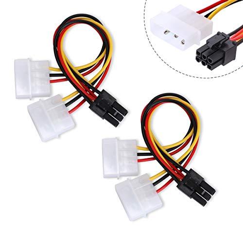 6-Pin Grafikkarten-Stromkabel,AIEVE 2 Stück Strom Kable PCle 6-PCle auf 4-Pin Molex Stromanschlüsse Stecker Grafikkarte Stromkabel PCle Stromadapter Kabel
