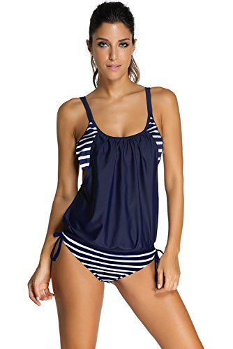 Nuovo da donna navy layered-style Striped Tankini con slip triangolare