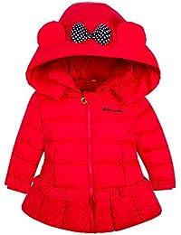Ankoee Chaqueta Abrigo con Capucha para niñas de Pluma Plumón Invierno Mangas Largas 3 4 5 6 7 8 9 10 11 12 años - Rojo Púrpura Rosa