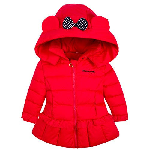 Ankoee Mignon Bébé Fille Manteau Veste Hiver Cape Blousons Vêtements Chauds Enfants (90cm/12-18 mois, Rouge)