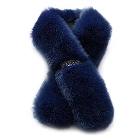 Covermason Chic Women's Winter Warm Faux Fur Scarves Shawl Scarf (Dark Blue)