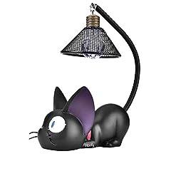 Idea Regalo - Regalo della decorazione della tavola della stanza della lampada della lampada da tavolino del mestiere della resina della luce di notte del gatto sveglio nero(Round)