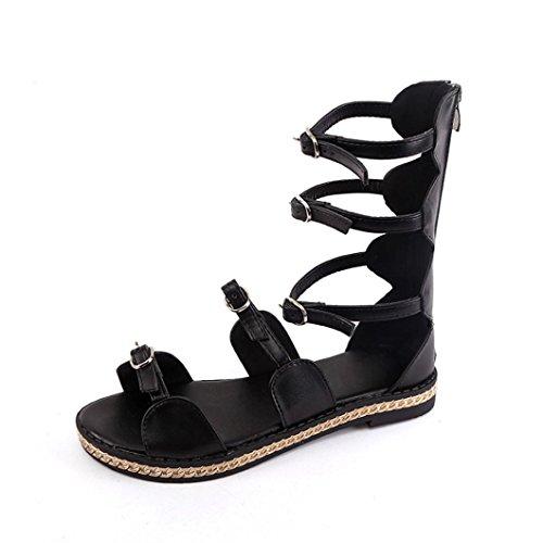 Transer® Damen Sandalen Knopf Gürtel Ankle-strap Künstliches PU+Gummi Wohnungen Schwarz Weiß Sommer Stiefel (Bitte achten Sie auf die Größentabelle. Bitte eine Nummer größer bestellen) Schwarz