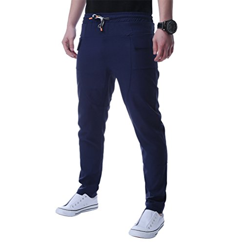 Zhhlaixing moda High Quality Breathable Mens Slim Fit Solid Color Long Pants Trousers Blue