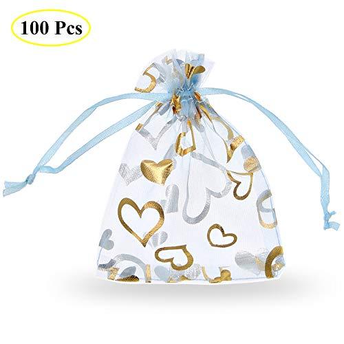SumDirect 100Pcs 9x12cm Corazón Impresión Organza