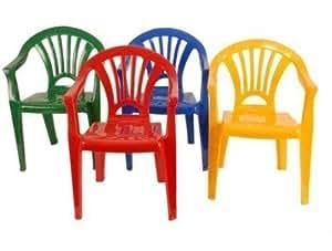 Lot 4 chaises plastique pour enfant 4 couleurs jaune rouge - Peinture pour mobilier de jardin en plastique ...