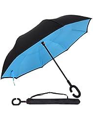 Parapluie Inversé innovant, Parapluie Canne Double Couche Coupe-Vent, Mains Libres poignée en forme C - Idéal pour Voiture et Voyage By OYSHOPP (azur)