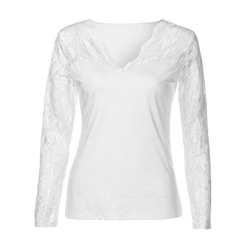 Bonjouree Chemisier Sexy Femme Dentelle T-shirt Hauts à Manches Longues Col V Blanc